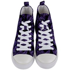 Tropical Leaves Purple Women s Mid Top Canvas Sneakers