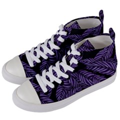 Tropical Leaves Purple Women s Mid Top Canvas Sneakers by vintage2030
