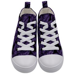 Tropical Leaves Purple Kid s Mid Top Canvas Sneakers