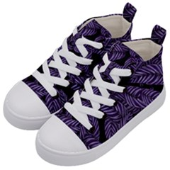 Tropical Leaves Purple Kid s Mid Top Canvas Sneakers by vintage2030
