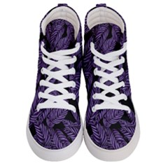 Tropical Leaves Purple Women s Hi Top Skate Sneakers