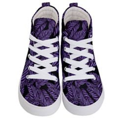 Tropical Leaves Purple Kid s Hi Top Skate Sneakers