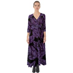 Tropical Leaves Purple Button Up Boho Maxi Dress