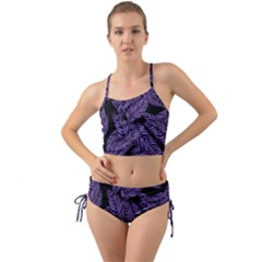 Tropical Leaves Purple Mini Tank Bikini Set