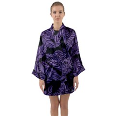 Tropical Leaves Purple Long Sleeve Kimono Robe