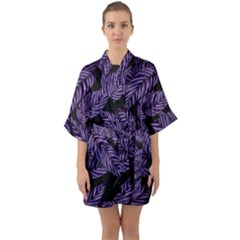 Tropical Leaves Purple Quarter Sleeve Kimono Robe