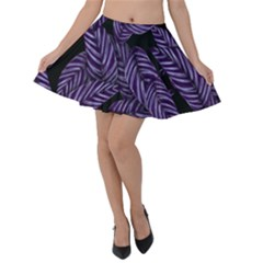 Tropical Leaves Purple Velvet Skater Skirt