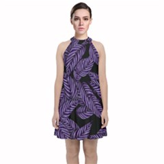 Tropical Leaves Purple Velvet Halter Neckline Dress