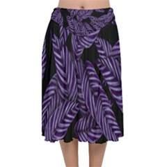 Tropical Leaves Purple Velvet Flared Midi Skirt