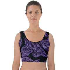 Tropical Leaves Purple Velvet Crop Top