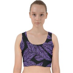 Tropical Leaves Purple Velvet Racer Back Crop Top