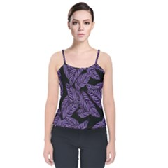 Tropical Leaves Purple Velvet Spaghetti Strap Top