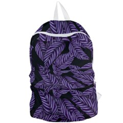 Tropical Leaves Purple Foldable Lightweight Backpack