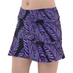 Tropical Leaves Purple Tennis Skirt