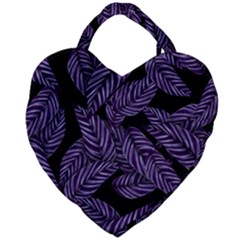 Tropical Leaves Purple Giant Heart Shaped Tote