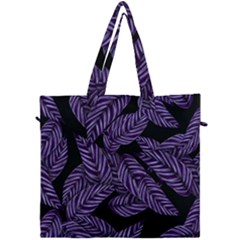 Tropical Leaves Purple Canvas Travel Bag