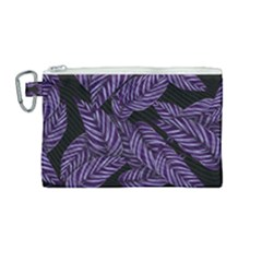 Tropical Leaves Purple Canvas Cosmetic Bag (medium)