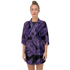 Tropical Leaves Purple Half Sleeve Chiffon Kimono