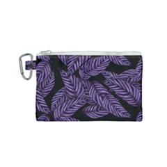 Tropical Leaves Purple Canvas Cosmetic Bag (small) by vintage2030