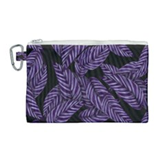 Tropical Leaves Purple Canvas Cosmetic Bag (large)
