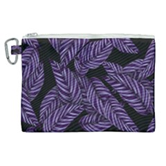Tropical Leaves Purple Canvas Cosmetic Bag (xl)