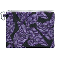 Tropical Leaves Purple Canvas Cosmetic Bag (xxl)