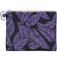 Tropical Leaves Purple Canvas Cosmetic Bag (xxxl)