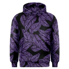 Tropical Leaves Purple Men s Overhead Hoodie