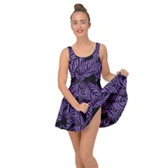Tropical Leaves Purple Inside Out Casual Dress