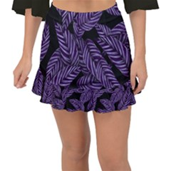 Tropical Leaves Purple Fishtail Mini Chiffon Skirt
