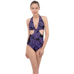 Tropical Leaves Purple Halter Front Plunge Swimsuit
