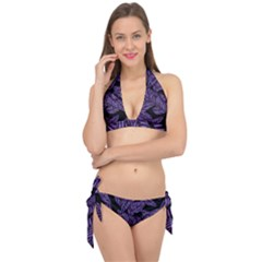 Tropical Leaves Purple Tie It Up Bikini Set