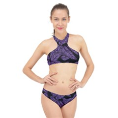 Tropical Leaves Purple High Neck Bikini Set
