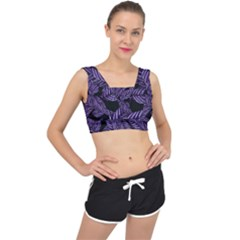 Tropical Leaves Purple V Back Sports Bra