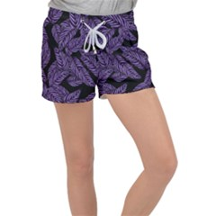 Tropical Leaves Purple Women s Velour Lounge Shorts