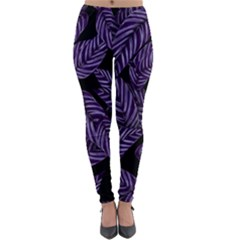 Tropical Leaves Purple Lightweight Velour Leggings