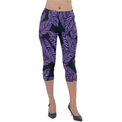 Tropical Leaves Purple Lightweight Velour Capri Leggings
