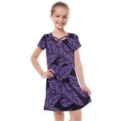 Tropical Leaves Purple Kids  Cross Web Dress