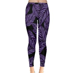 Tropical Leaves Purple Inside Out Leggings