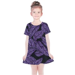 Tropical Leaves Purple Kids  Simple Cotton Dress