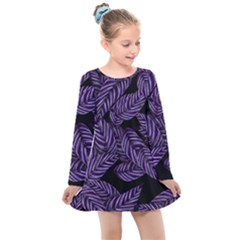 Tropical Leaves Purple Kids  Long Sleeve Dress