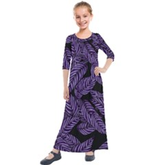 Tropical Leaves Purple Kids  Quarter Sleeve Maxi Dress