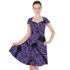 Tropical Leaves Purple Cap Sleeve Midi Dress