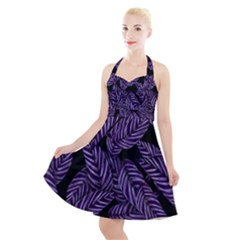 Tropical Leaves Purple Halter Party Swing Dress