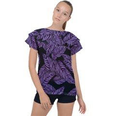Tropical Leaves Purple Ruffle Collar Chiffon Blouse