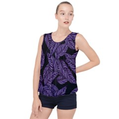 Tropical Leaves Purple Bubble Hem Chiffon Tank Top