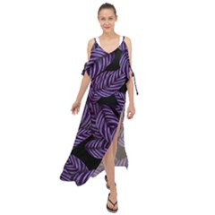Tropical Leaves Purple Maxi Chiffon Cover Up Dress