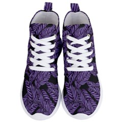 Tropical Leaves Purple Women s Lightweight High Top Sneakers