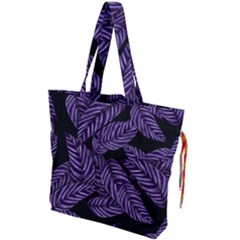 Tropical Leaves Purple Drawstring Tote Bag