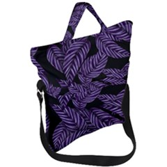 Tropical Leaves Purple Fold Over Handle Tote Bag